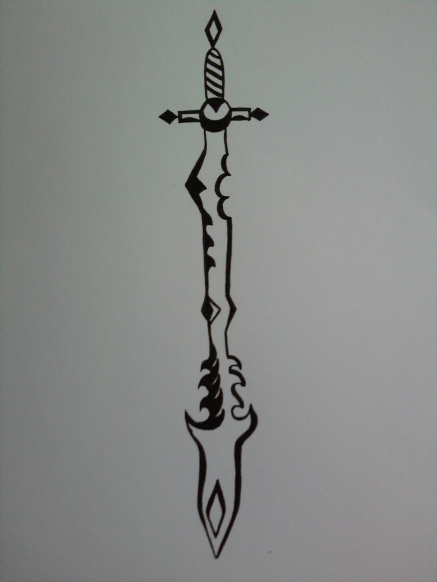 Fantasy Tribal Sword Tattoo Print