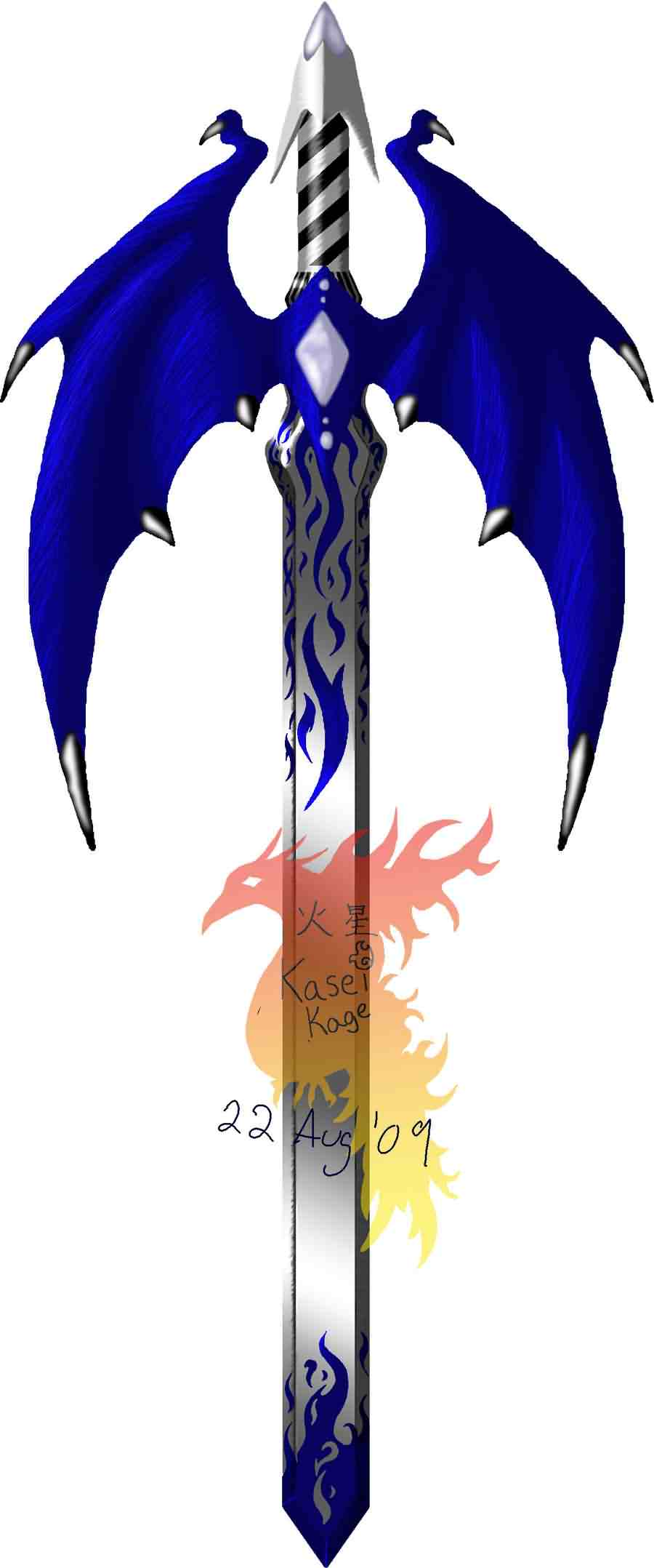 Fantasy Winged Sword Tattoo Design