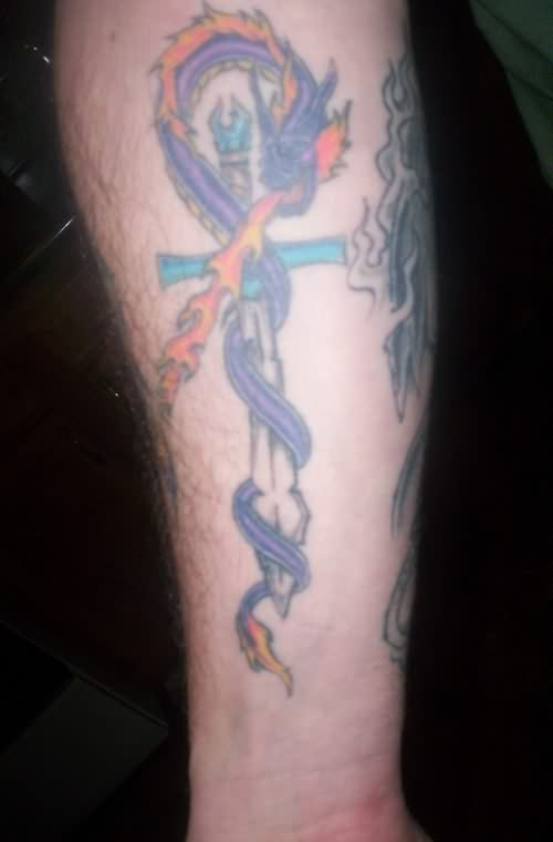 Fire Breathing Dragon And Sword Tattoos