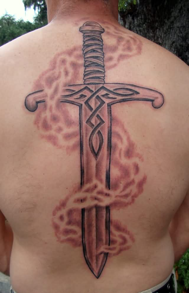 Flames And Sword Tattoos On Backbody