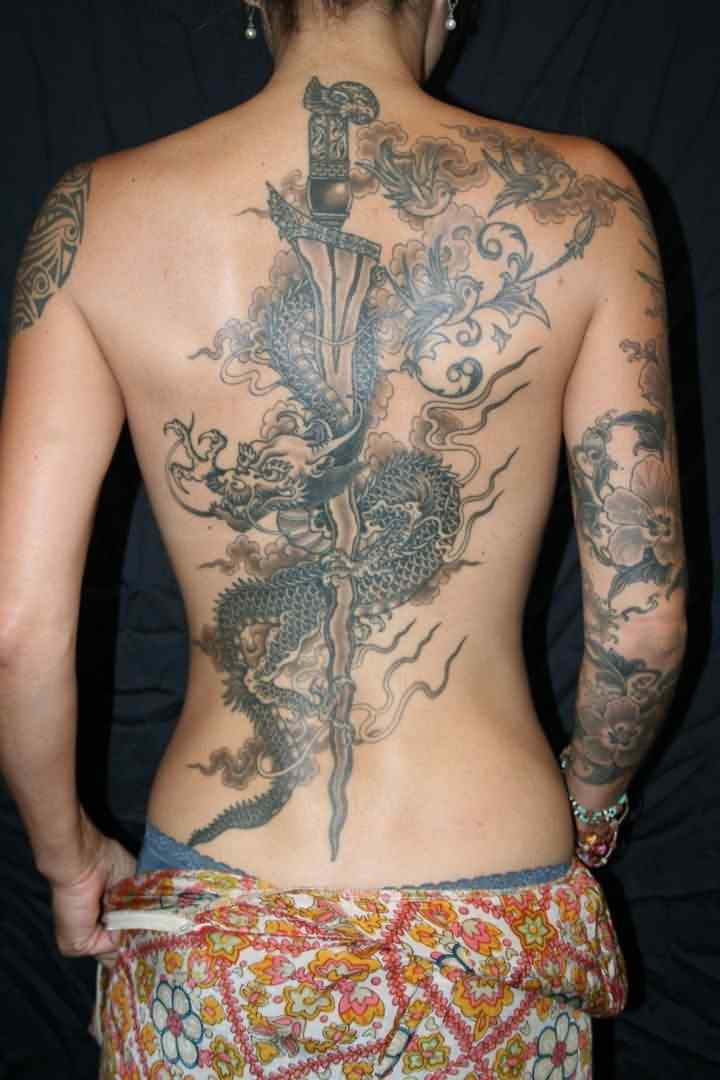 Flames Dragon And Long Sharp Sword Tattoos On Backbody