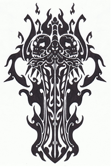 Flaming Skull Sword Of Fire Tattoo Design