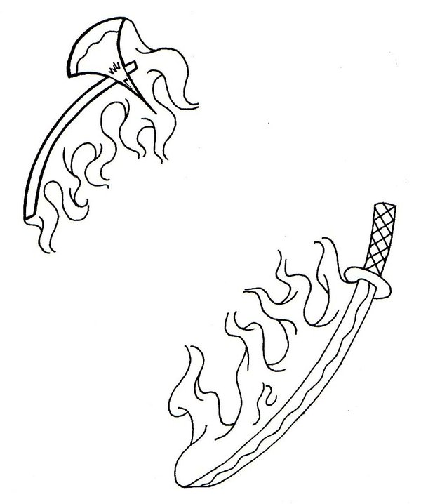 Flaming Sword And Axe Tattoo Designs
