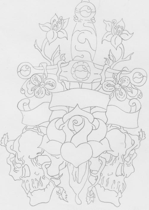 Flowers And Sword Tattoos Print
