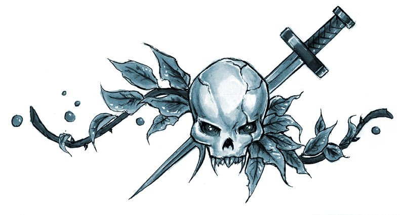 Free Skull And Sword Tattoo Designs