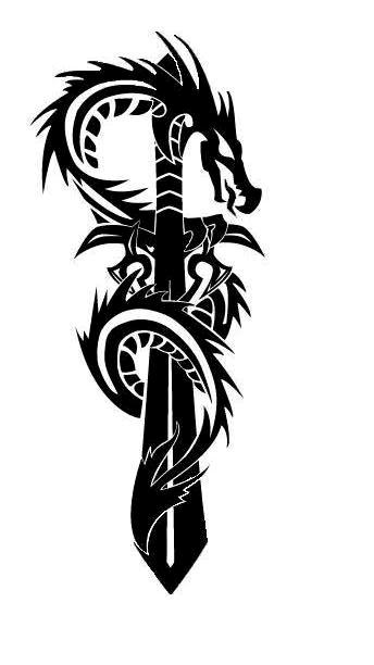 Fresh Tribal Dragon And Sword Tattoo Design