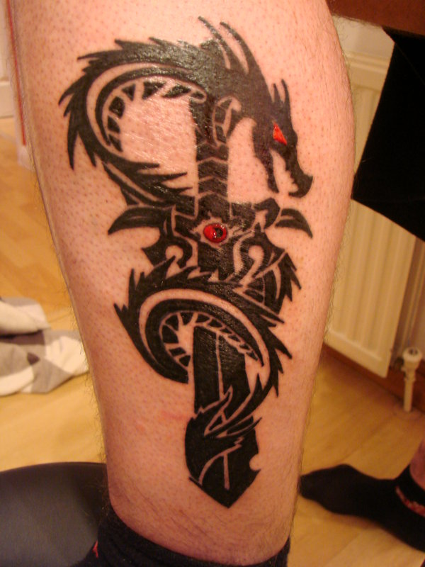 Fresh Tribal Dragon And Sword Tattoo For Boys