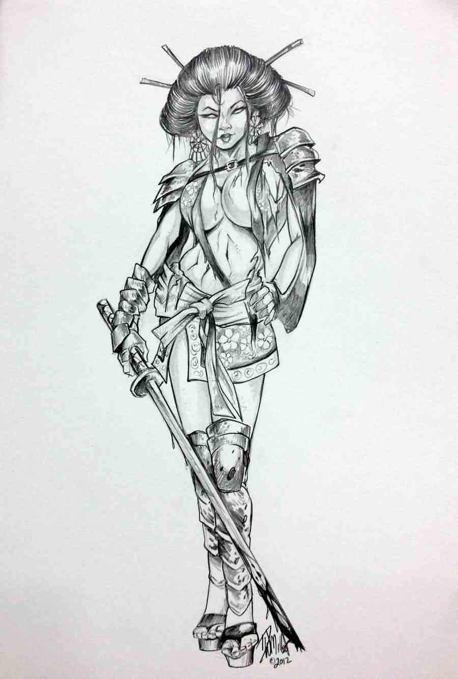 Geisha Warrior Girl With Sword Tattoo Design