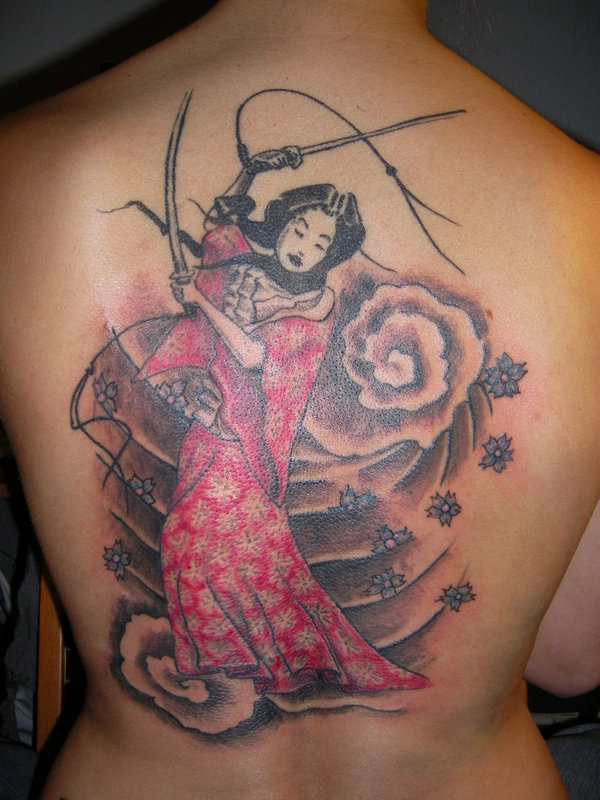 Geisha With Sword And Cloud Tattoos On Backbody