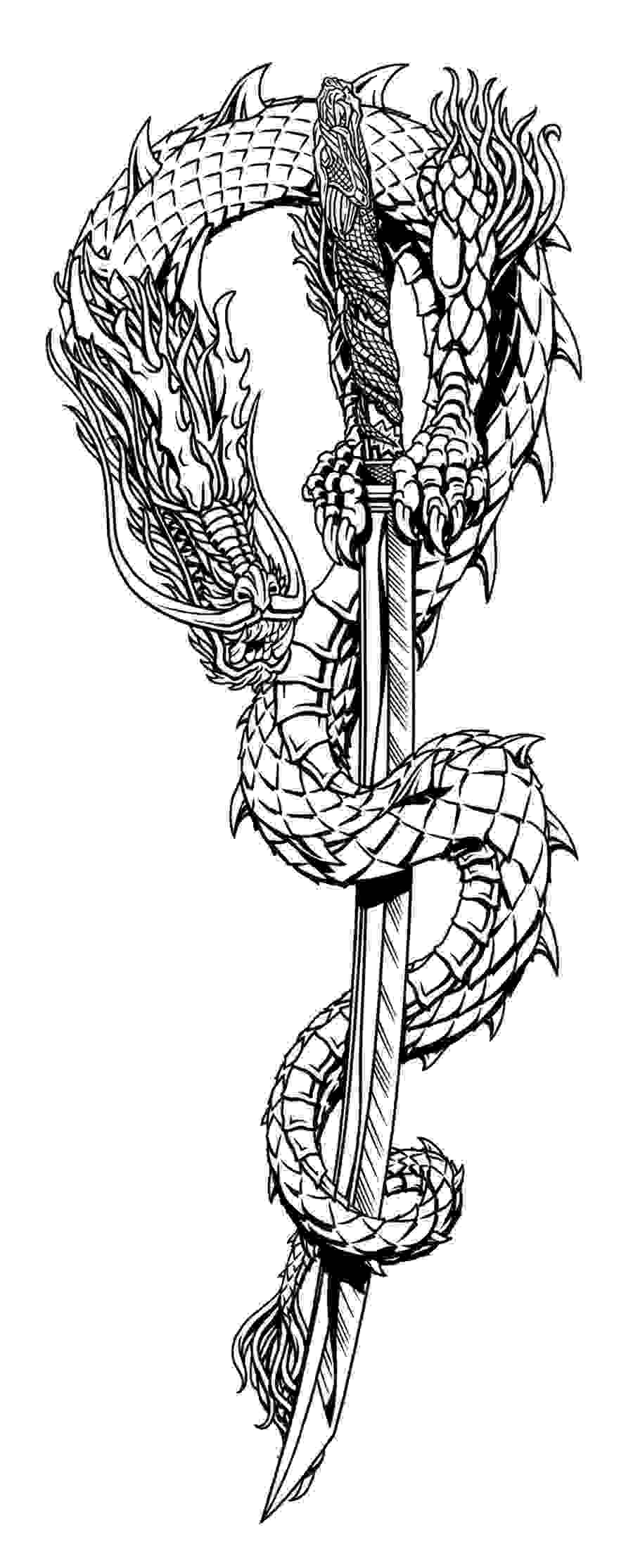 Gin Ryu Dragon And Sword Tattoo Designs