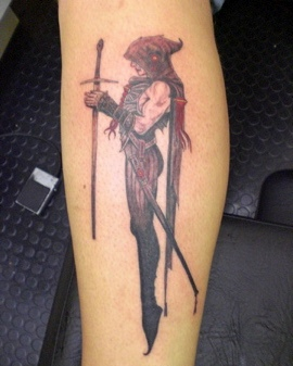 Girl With Long Thin Sword Tattoo