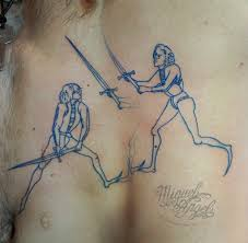 Girls Fighting With Sword Tattoos