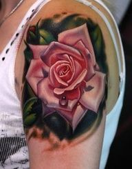 Glorious 3D Rose Tattoo On Left Shoulder