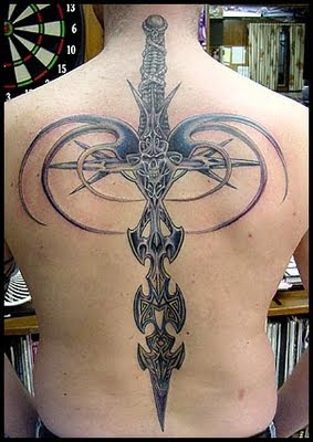 Great Stylish Sword Tattoo On The Back