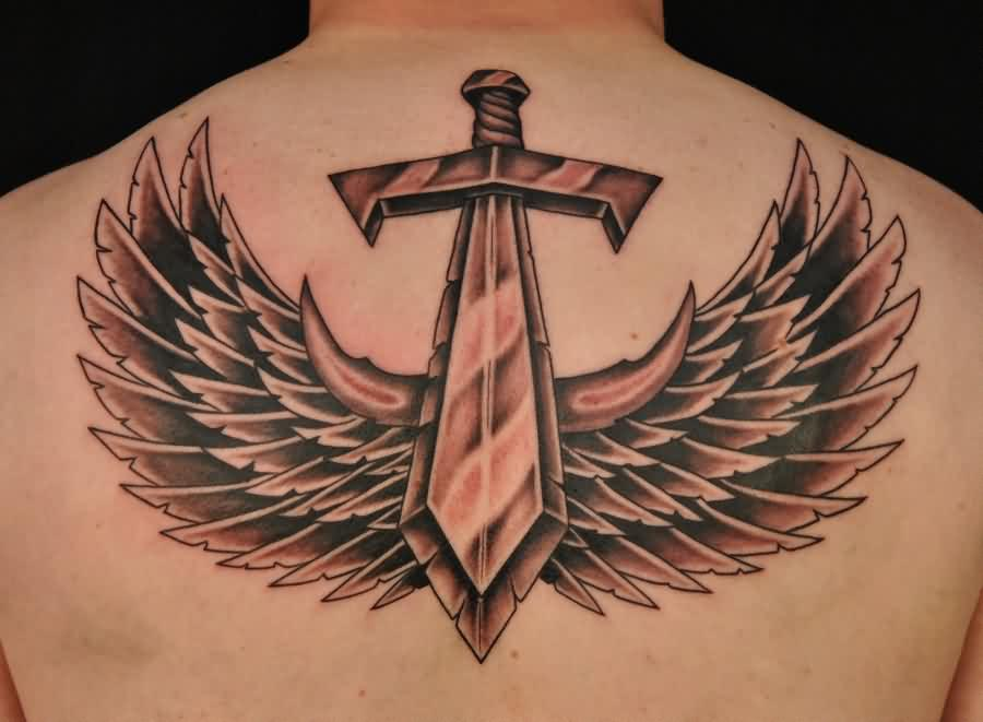 Great Sword And Wings Tattoos On Upperback