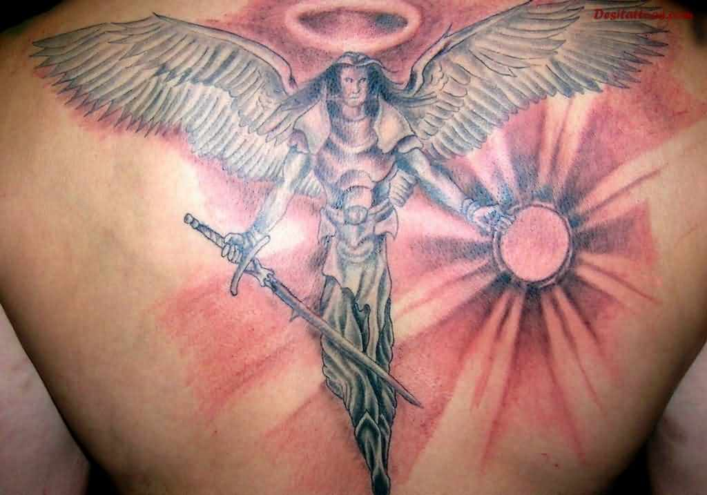 Grey Angel With Long Sword Tattoo On Back