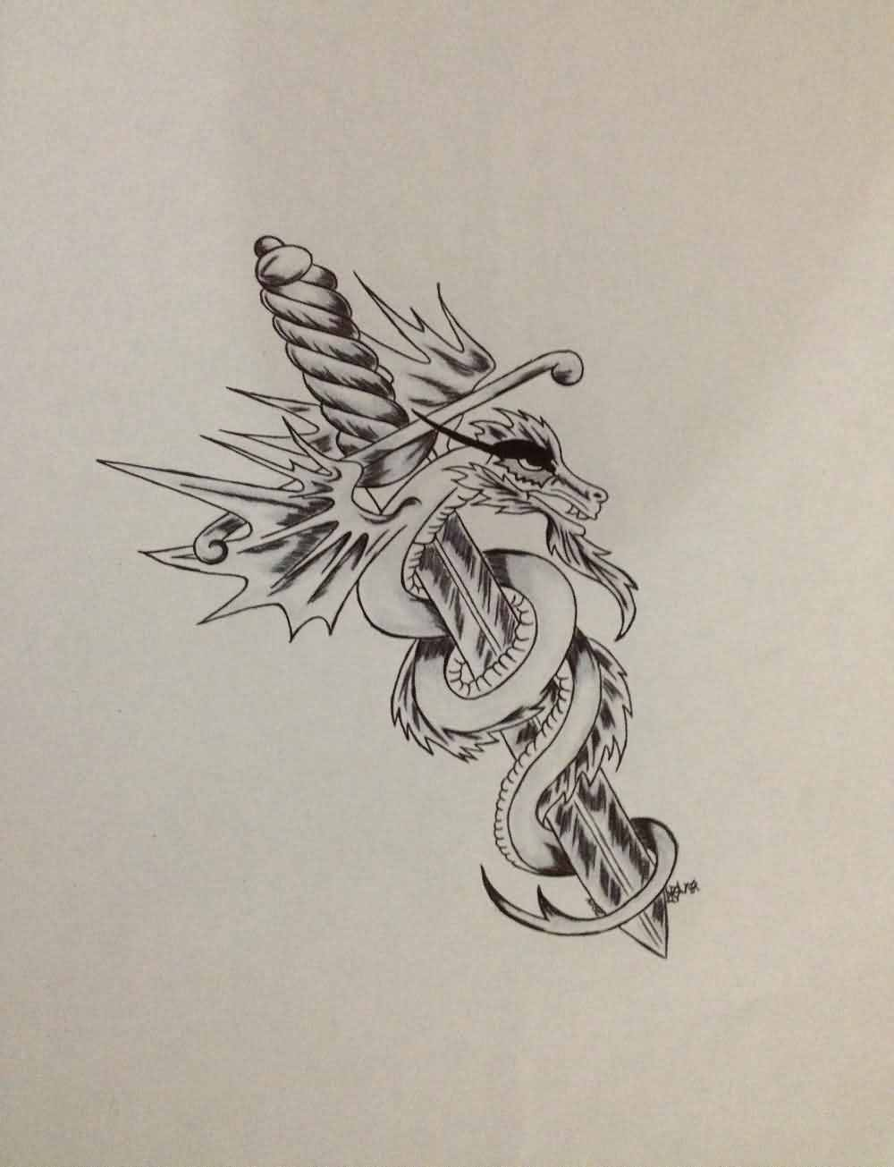 Grey Dragon And Sword Tattoos Print