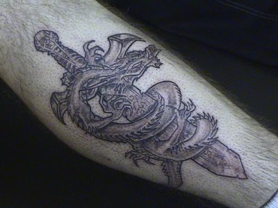 Grey Dragon Around Sword Tattoo For Men