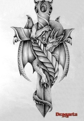 Grey Dragon Sword Tattoo Print