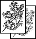 Grey Flowers And Sword Tattoo Designs