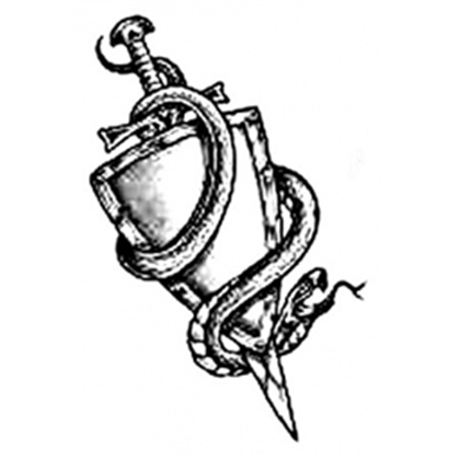 Grey Sword Shield And Snake Tattoo Designs