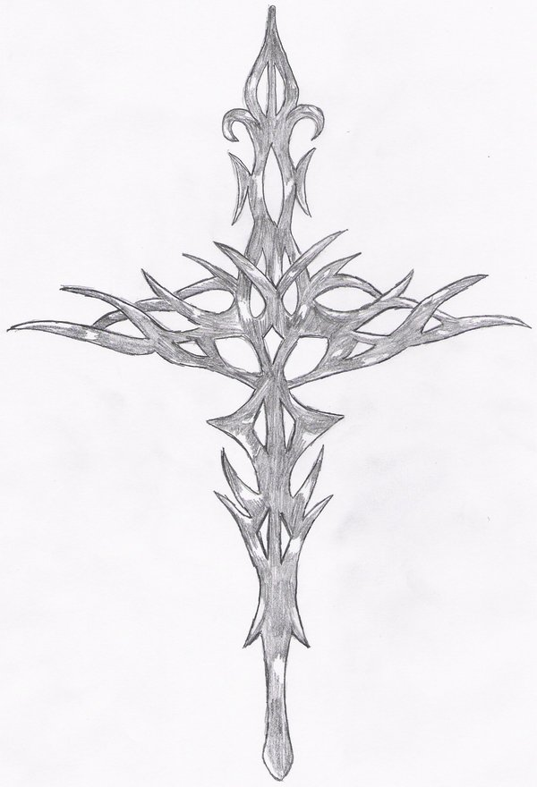 Grey Tribal Sword Tattoo Drawing