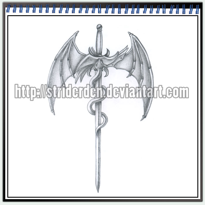 Grey Winged Dragon On Sword Tattoo Design