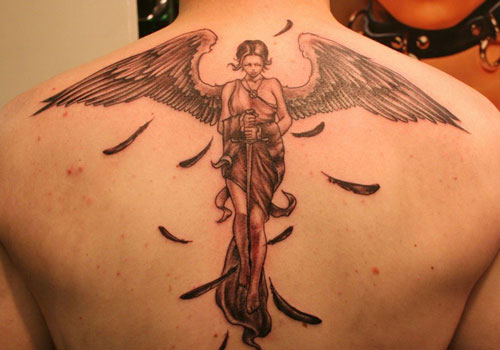 Guardian Angel With A Sword Tattoo