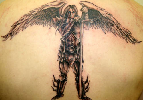 Guardian Angel With Long Sword Tattoo On Back