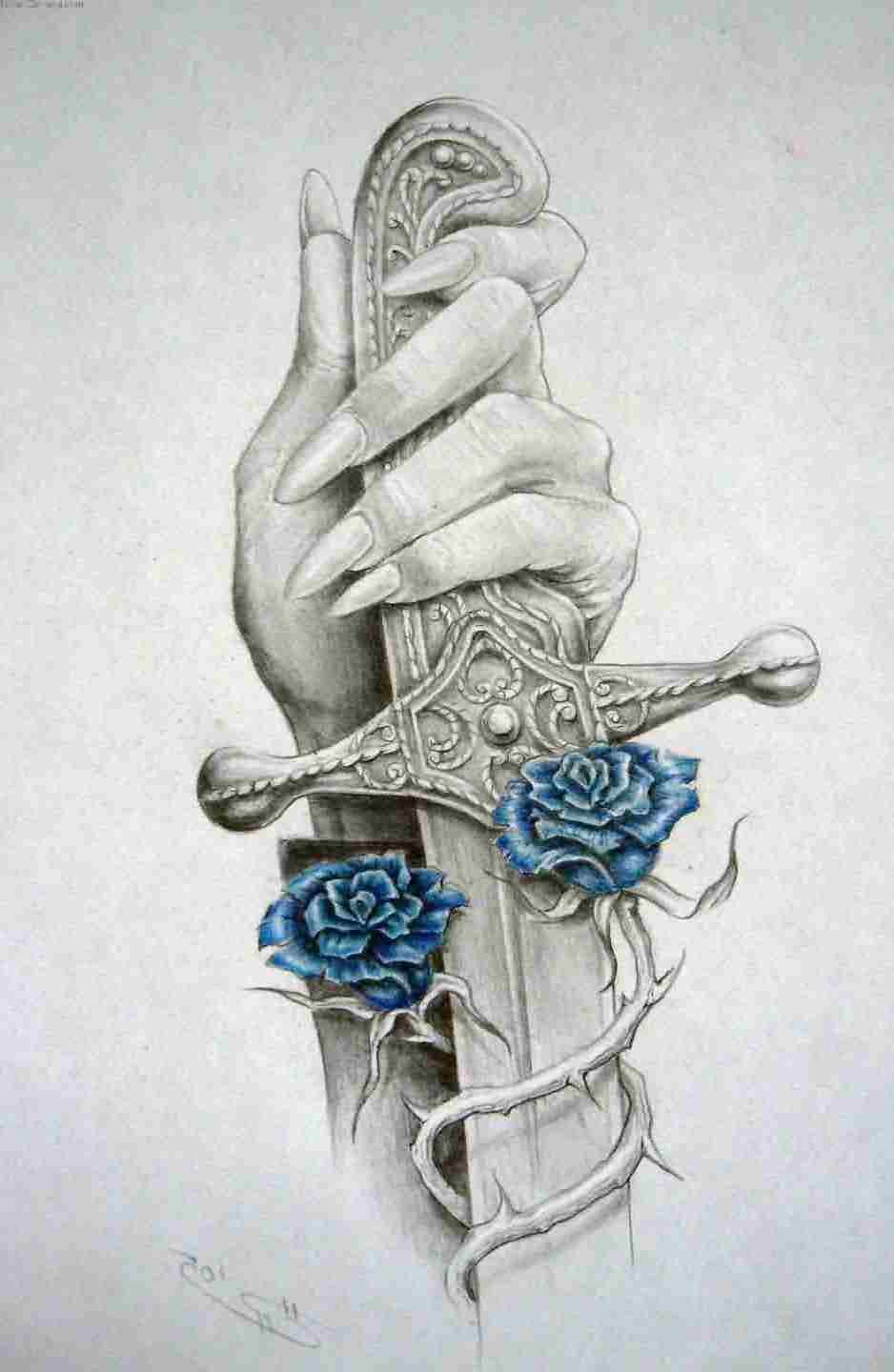 Hand Sword And Blue Rose Tattoos Sketch