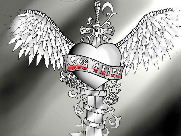 Heart Sword Winged Tattoo Graphic