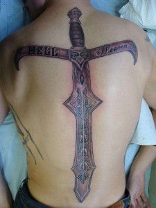Hell Heaven Sword Tattoo On The Back