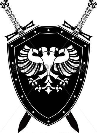 Heraldic Eagle And Swords Raster Variant Tattoo Model