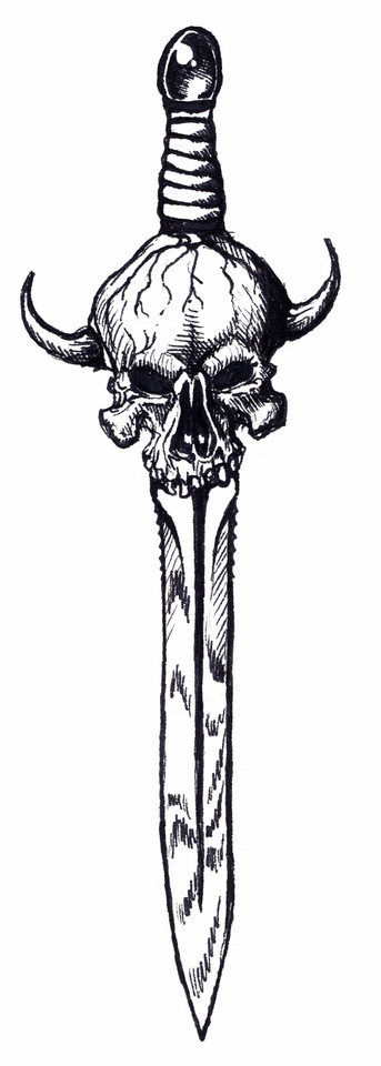 Horned Skull Sword Tattoo Model