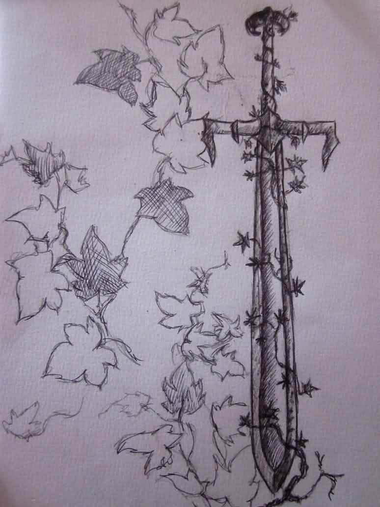 Ivy Sword Tattoo Design