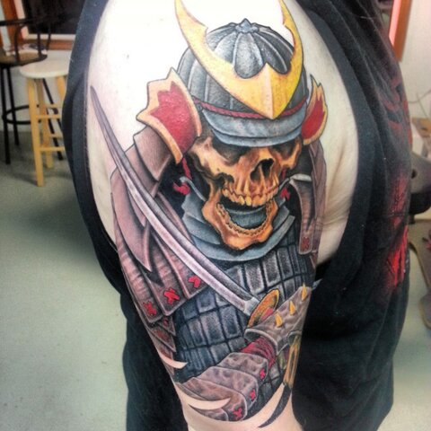 Japanese Color Skull With Sword Tattoo On Sleeve