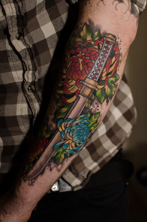 Japanese Flowers And Sword Tattoos On Arm
