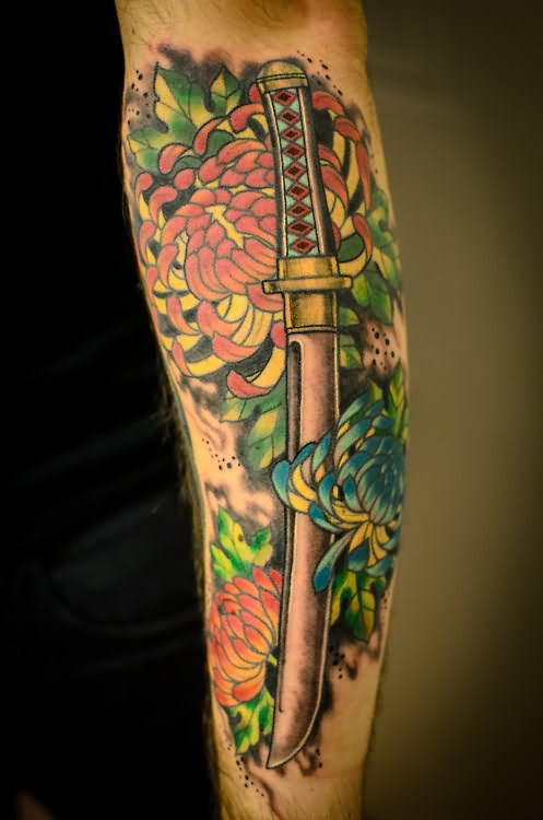 Japanese Sword And Color Flower Tattoos On Sleeve