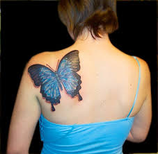 Lady With The 3D Butterfly Tattoo