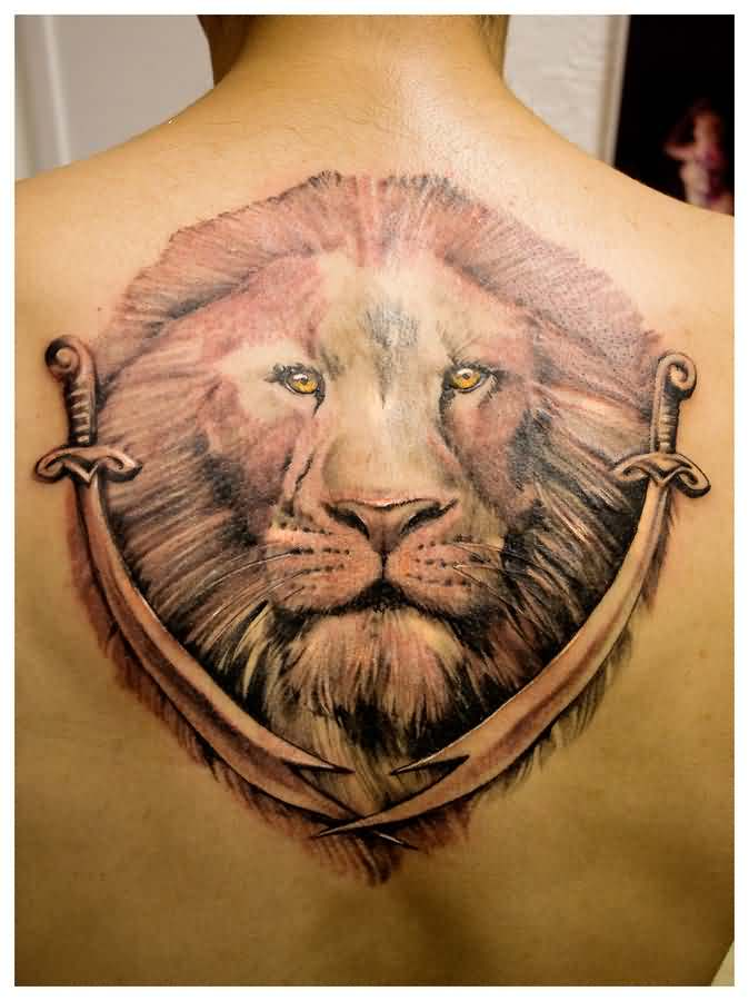 Large Lion Head And Sword Tattoos On Back