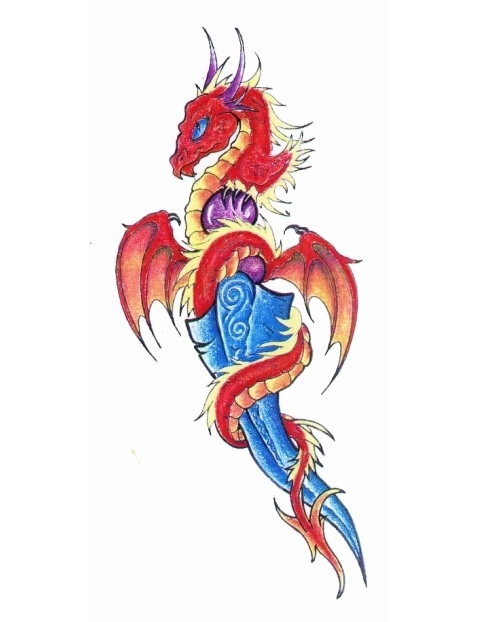 Latest Dragon On Sharp Sword Tattoo Model