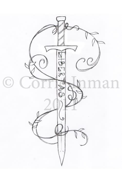 Libertas Sword And Vine Tattoos Sketch