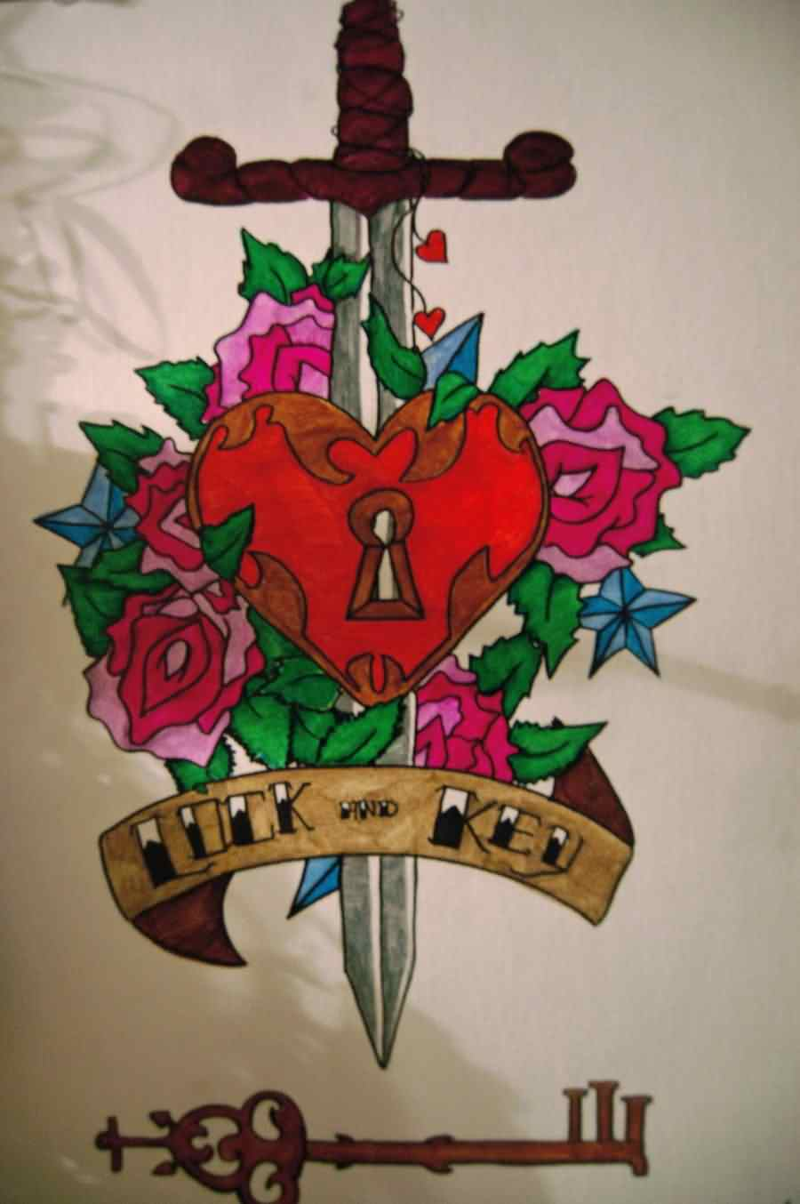 Lock And Key Sword Heart Tattoo Designs