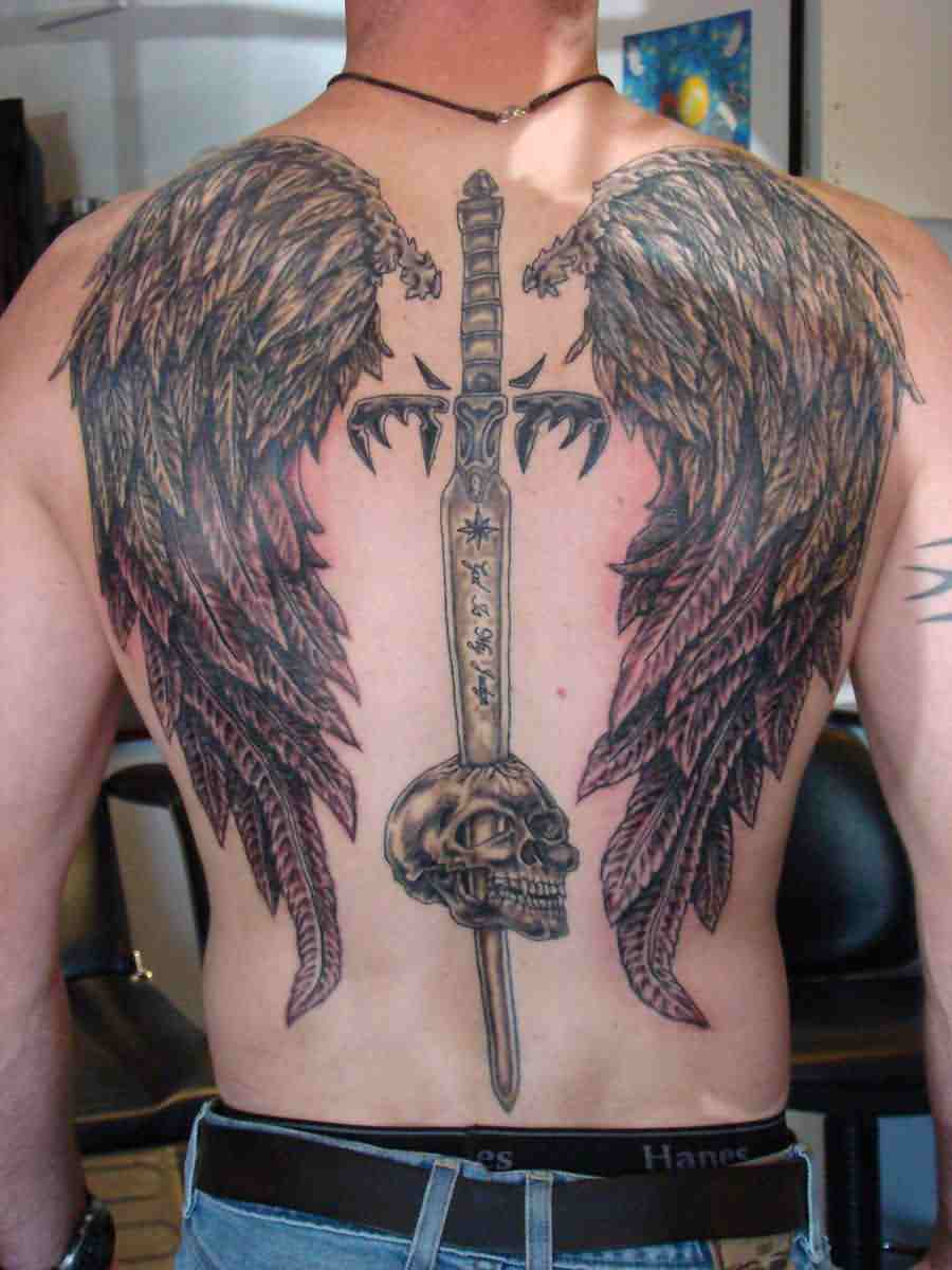 Long Sword Skull And Wings Tattoos On Backbody
