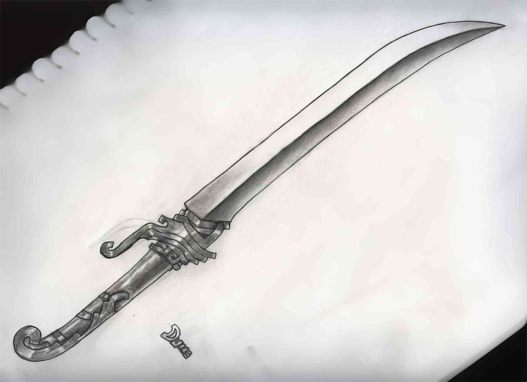 Long Sword Tattoo Drawing