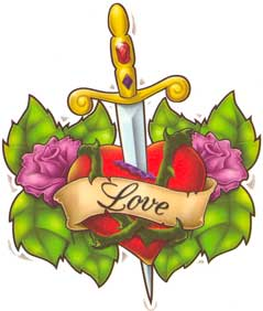 Love Heart Sword And Roses Tattoo Design