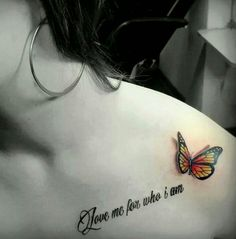 Love Lettering And 3D Butterfly Tattoo