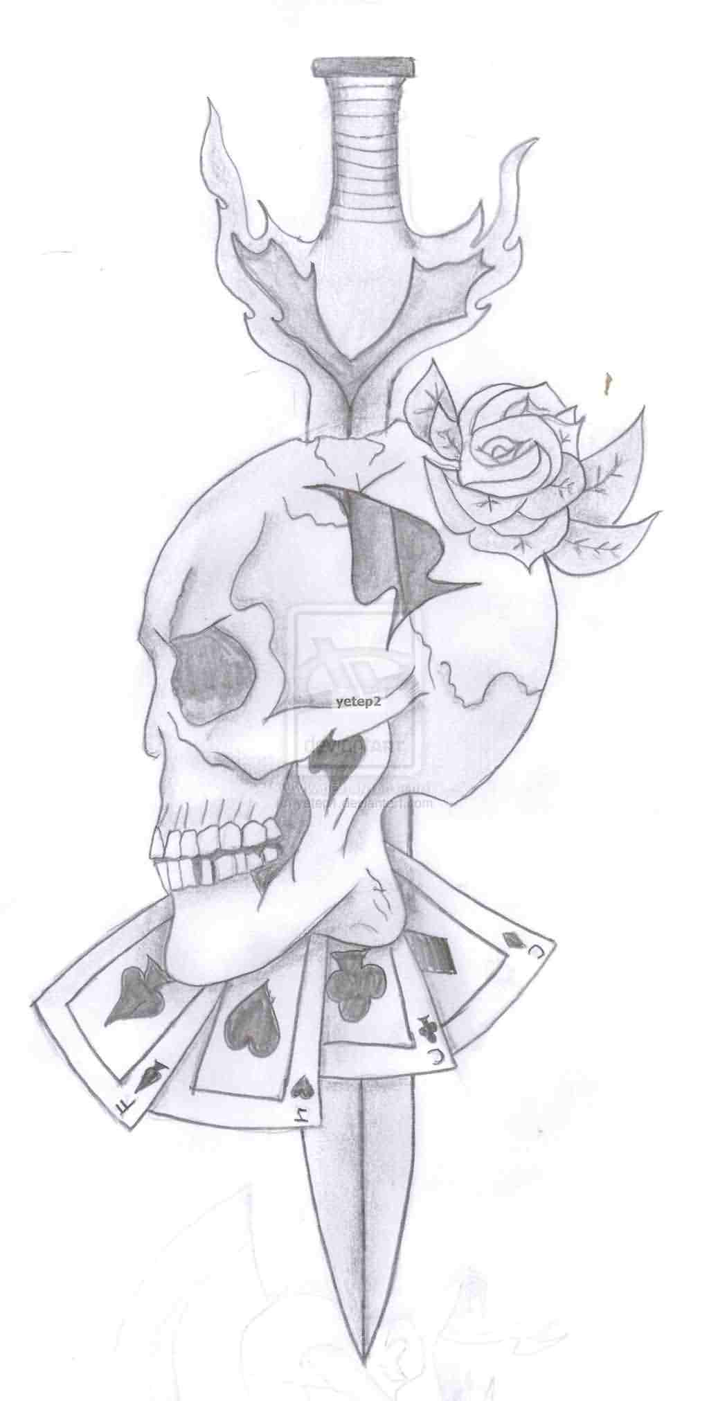 Lucky Skull And Sword Tattoo Designs