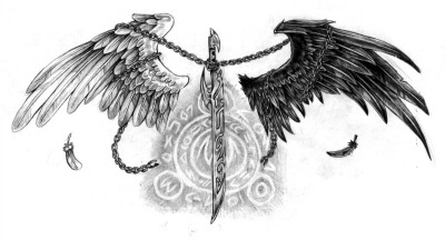Magic Sword And Wings Tattoo Design
