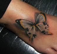 Marvelous 3D Butterfly Tattoo On Foot